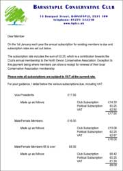 Barnstaple Conservative Club membership subscriptions